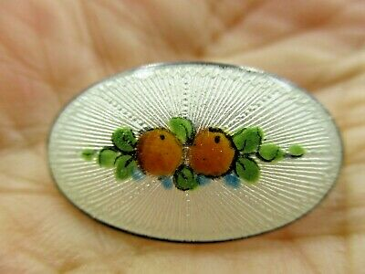 Vintage Sterling Silver GUILLOCHE Enamel White Oranges Fruit Pin Brooch