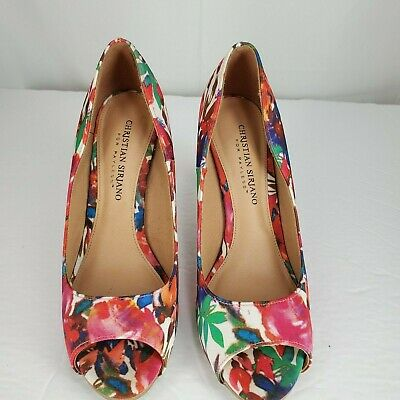 2d4324a4368 CHRISTIAN SIRIANO FOR Payless Womens Open Toe Wooden Stilleto Heels sz 7  Floral