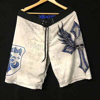 4829c194bd Affliction Board Shorts Swim Trunks Beach Board Men's Size 34 Skull Crosses