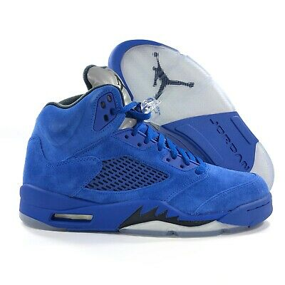 5da0e57d233 Nike Air Jordan 5 V Retro Blue Suede Game Royal Black 136027-401 Men's 8.5