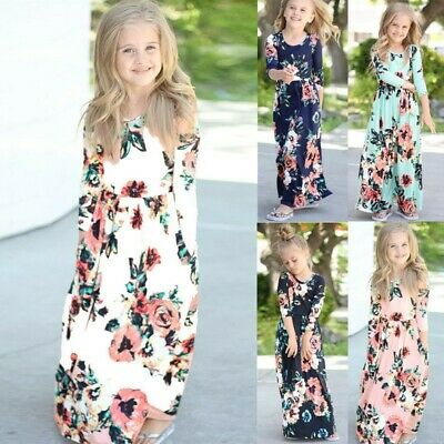 Kids Girls Long Sleeve Maxi Dress Floral Beach Holiday Party Dresses 2-9 Years