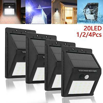 LED Solar Powered PIR Motion Sensor Light Outdoor Garden Security Wall Lights