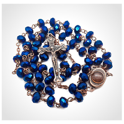 Antique Deep Blue Crystal Beads Rosary Catholic Necklace Holy Soil Medal Cross