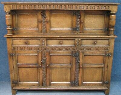 Titchmarsh And Goodwin Solid Oak Court Cupboard In Jacobean Style