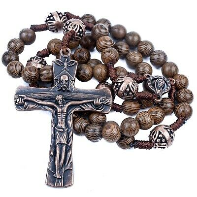 Our Father Sacred Wood Beads Rosary Necklace Catholic Miraculous Medal & Cross