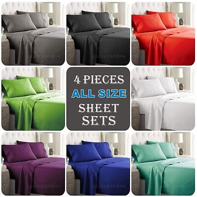 4PCS 1000TC Ultra SOFT Fitted Flat Sheets Set Single/KS/Double/Queen/King/SK Bed