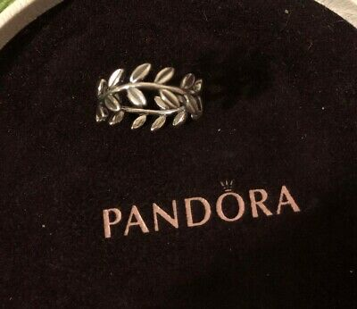 89ca3e3cd Pandora Silver Laurel Wreath Leaf Ring 190922 Retired Size 58 Authentic Ale  925