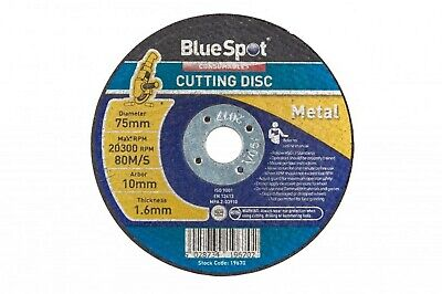75mm 3inch metal cutting discs pack of 10 with 10mm arbor BlueSpot 19670