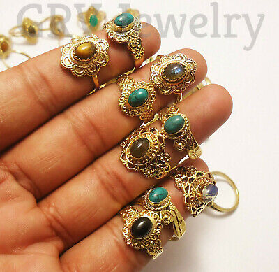 100pcs Rings Wholesale Lots Mix Gemstones Jewellery Brass Jewellery Gold Plated
