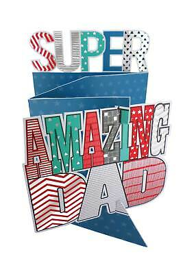 Father's Day Card Super Amazing Dad 3D Cutting Edge Greeting Cards
