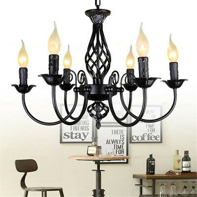 Vintage Style Wrought Iron Chandelier Hanging Candle Light Lamp Pendant Fixtures