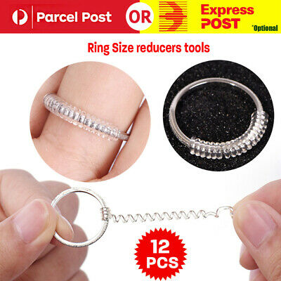 12PCS Ring size reducers Spiral Invisible Snugs Guard RESIZER ADJUSTERS TOOLS