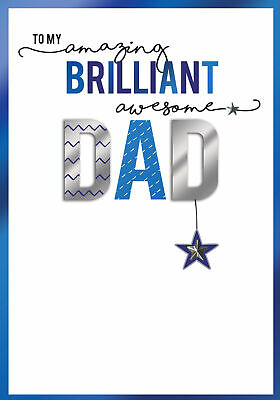 Father's Day Card Amazing Brilliant Awesome Dad Embellished Greeting Cards