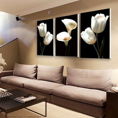 3pc Canvas Flower Modern Wall Art Oil Painting Picture Print Unframed Home Decor