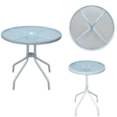 Metal Round Garden Table Outdoor Coffee Table Glass Tabletop