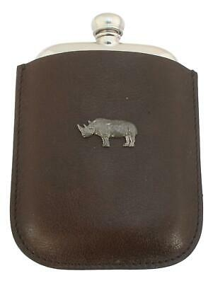 Rhino Pewter 4oz Kidney Hip Flask Leather Pouch FREE ENGRAVING 297