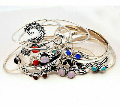 Turquoise & Mixed Gemstone 50pcs Cuff Bracelet Wholesale Lots 925 Silver Plated