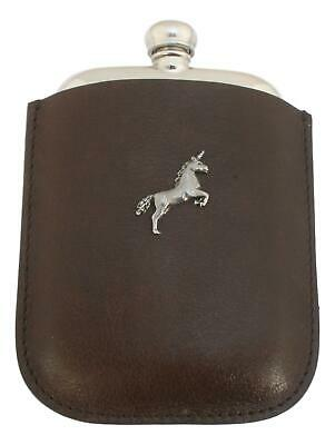 Unicorn Pewter 4oz Kidney Hip Flask Leather In Pouch FREE ENGRAVING  382