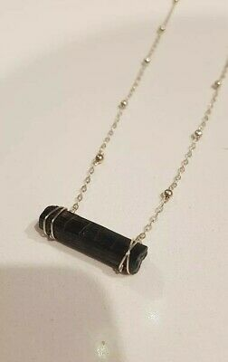 Handmade Natural Raw Black Tourmaline Gemstone Crystal hand wrapped Necklace