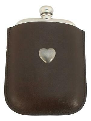Love Heart Pewter 4oz Kidney Hip Flask Leather In Pouch FREE ENGRAVING 408