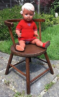 Old Vintage MidCentury Child's Cow Horn Spindle Back Chair Fab For Dolls & Bears