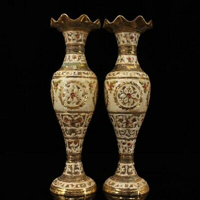 Collectible Tibet Antique pair Cloisonne bronze gilt flower bottle Noble Vase