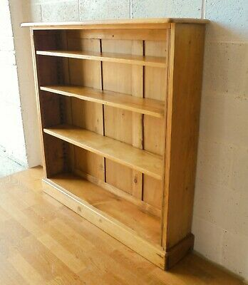 Antique Victorian Country Rustic Solid Pine Open Bookcase Adjustable Shelves