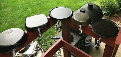 Rare Wagner Ware Cast Iron Lot Fat Free Fryer Griddle 1102 Square Skillet Round