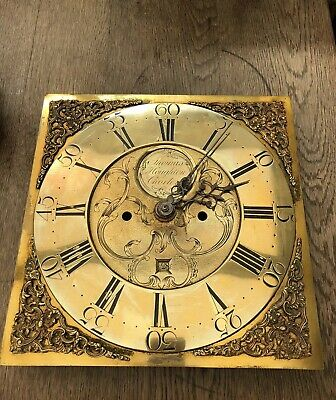 antique 1800s Brass Grandfather Clock Face