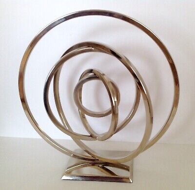 LARGE FOUR SILVER ETERNITY RING CIRCLES SCULPTURE/ ORNAMENT, 33cm HIGH