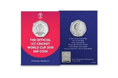 2019 Isle Of Man Icc Cricket World cup Official Logo 50p Coin *ONLY 65,000* Bunc