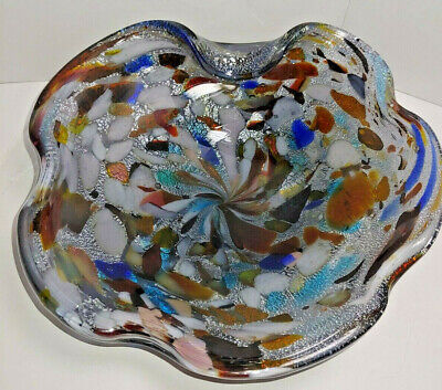 Vintage Murano Cobalt Blue Art Glass Dish Multi-Color Swirl Abstract Candy Dish