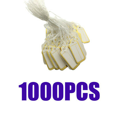 1000xGolden Edge Blank Price Tags Paper Cards with String Jewelry Tags