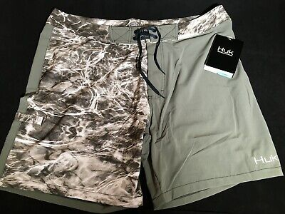 52c91d77ff Huk Men's Elements Size 40 Fishing Board Shorts Swimming Suit Mossy Oak Camo