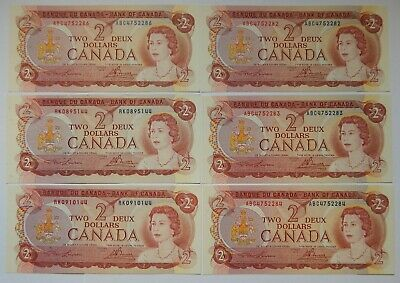 1974 - Canada - Bank of Canada - $2 - Inuit Hunt - P-86a - UNC - Lot of 6