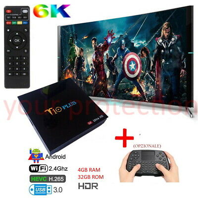 SMART TV BOX Q Plus ANDROID 9.0 4GB RAM 64GB 6K IP WIFI TASTIERA WIRELESS VELOCE