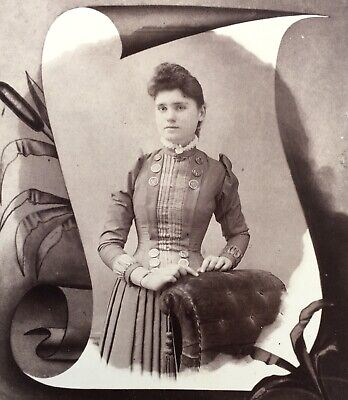 1890's Pretty Young School Girl CABINET CARD PHOTO Funeral Memorial Card