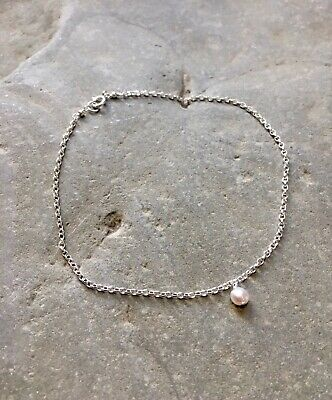24cm Anklet 9.5 inch Peach Freshwater Pearl Sterling Silver Ankle Bracelet