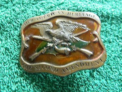 Vintage 1977 Our American Heritage The Second Amendment  Belt Buckle