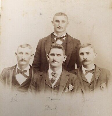 1890's Mauhart Brothers Young Men Cabinet Card Photo Terre Haute Indiana