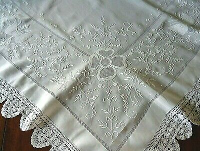 Antique White Linen Hand Embroidered & Drawn Thread Lace Tablecloth