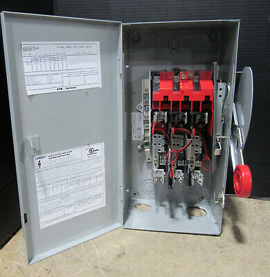 Eaton 60 AMP 600 V B Series Fuse Safety Switch Breaker Box w/ Fuses DH362NGK