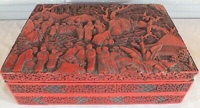 Box Box Red Lacquer Cinnabar 2 Tier China Xviii-Xix