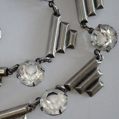 Antique High Art Deco Sterling Silver Crystal Paste Rhinestone Collar Necklace