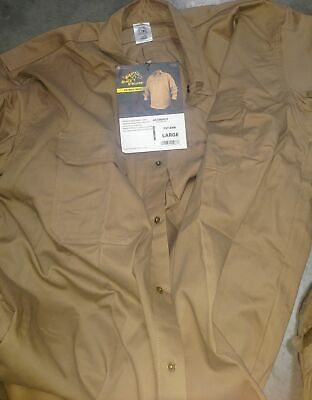Clearance- Revco Industries FS7-KHK-L Flame-Resistant Cotton Work Shirt, Large