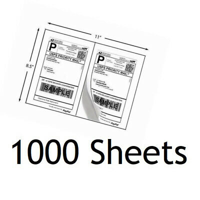 "1000 Half Sheet Self Adhesive Shipping Labels 8.5"" x 5.5""  USPS Paypal Amazon"