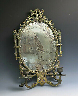 Antique French Empire Rococo Style Brass Wall Mirror Candle Sconce