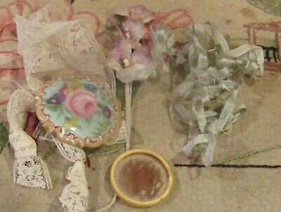 """Antique Lot of Misc Jewelry 1 1/2"""" Wide Etc for Antique Bisque or Early Dolls"""