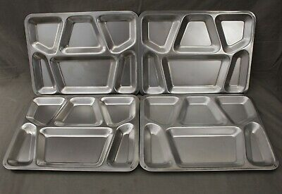 4 US Army Stainless Steel Metal Food Tray 6 Divided Mess Military School Camping