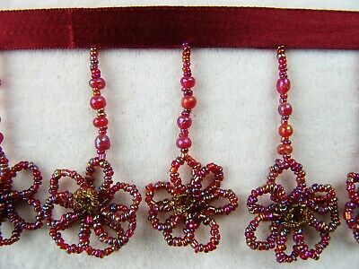 """JUST REDUCED!   Wonderful 3"""" Glass Beaded Flower Pattern Trim ~ Lampshades ~ BTY"""